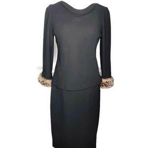 Maggy London 2 Pc Skirt Set w/ Leopard Fur Cuffs